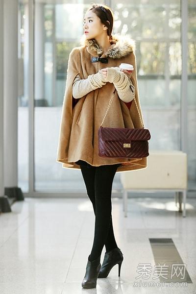 时髦大衣+靴子显高搭配
