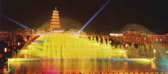 大雁塔北广场音乐喷泉是亚洲第一大音乐喷泉