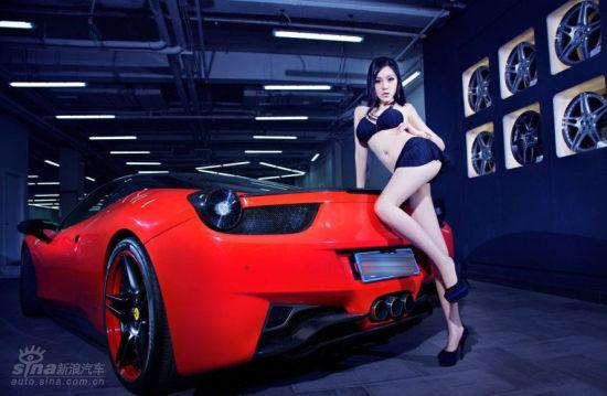 豪车配美女 性感的法拉利车模 7高清图片