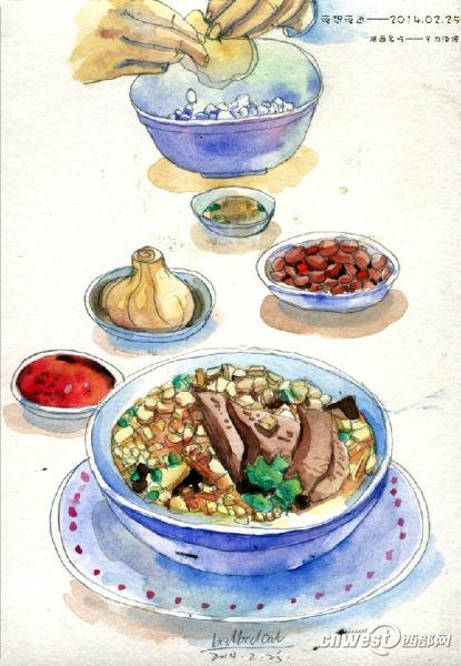 手绘美食水彩画