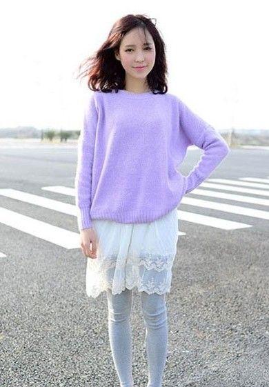 不规则毛衣搭配小短裙,春日新风景特别美!