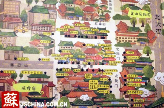 这本手绘地图是西安城内最权威的手绘