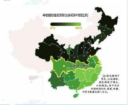 中国各省份田地水稻种植比例