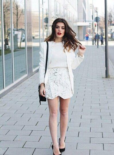 夏季就要清爽白 欧美街拍白色装