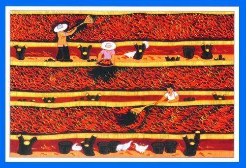 农民画作品《晒辣子》