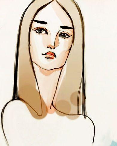 手绘线条图像 脸