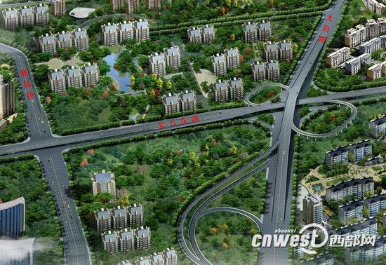 西安市太白路—丈八东路立交工程效果图。