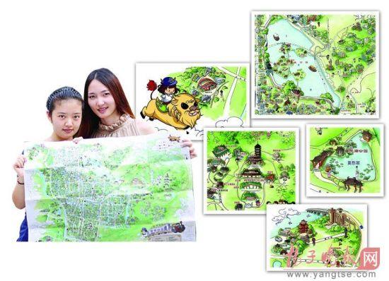 """卡通形象,但是据钱莉说:""""这是手绘南京地图"""