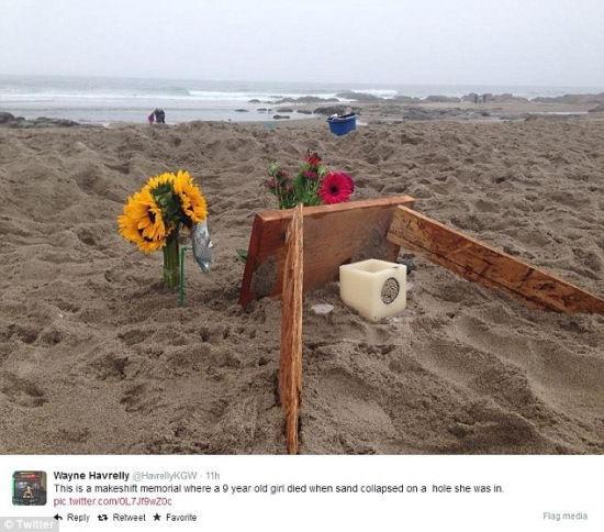 9岁女童挖大沙坑崩塌不幸遭活埋身亡(图)