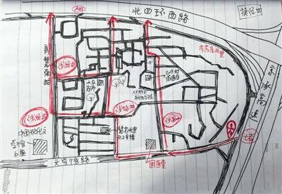 快递员手绘北京避堵地图走红