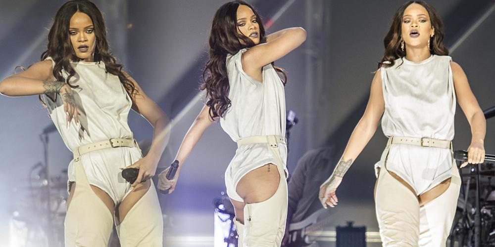 蕾哈娜演唱会 吊腿裤前露腿根后秀丰臀